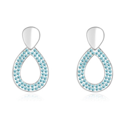Boucles d'Oreilles Goutte Plaqué Or Blanc et Cristal Bleu