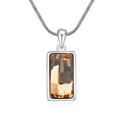 Collier Design Rectangle Plaqué Or Blanc et Cristal Orange