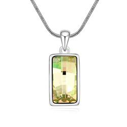 Collier Design Rectangle Plaqué Or Blanc et Cristal Jaune Vert