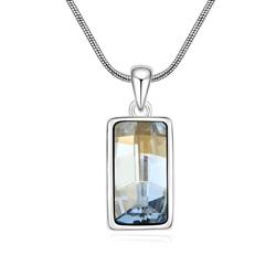Collier Design Rectangle Plaqué Or Blanc et Cristal Bleuté