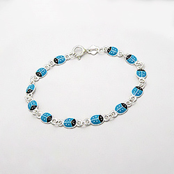 Bracelet Coccinelle Bleue en Argent 925