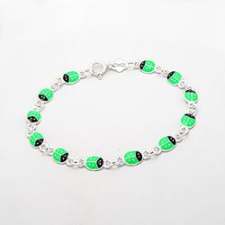 Bracelet Coccinelle Verte en Argent 925