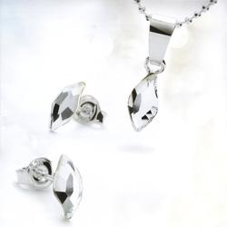 Parure en Argent Rhodié Diamond Leaf + Ecrin Noir