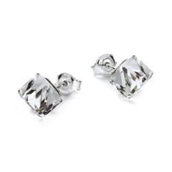 Boucles d'Oreilles Cube 6mm en Argent et Cristal Blanc