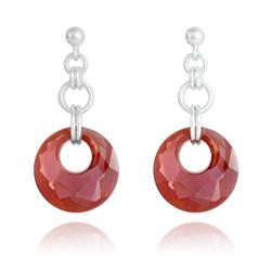 Boucles d'Oreilles Victory en Argent et Cristal Red Magma