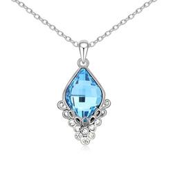 Collier Baroque Plaqué Or Blanc et Cristal Bleu