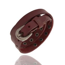 Bracelet 2 Tours en Cuir Rouge