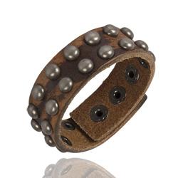 Bracelet Clouté en Cuir Marron