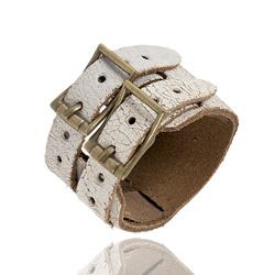 Bracelet Vintage en Cuir blanc craquelé