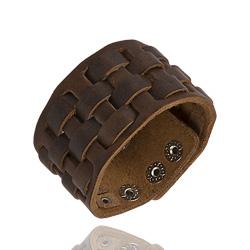 Bracelet en Cuir Tress� Marron