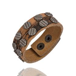 Bracelet 2 Rang et Cuir Vieilli Marron
