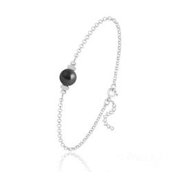 Bracelet en Argent et Perle de Cristal Nacré - Noir