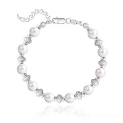 Bracelet en Argent et Perle de Cristal Nacré 6MM - Blanc