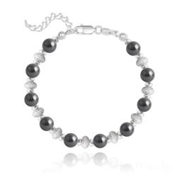 Bracelet en Argent et Perle de Cristal Nacré 6MM - Noir
