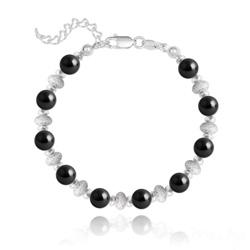 Bracelet en Argent et Perle de Cristal Nacré 6MM - Noir Mystique