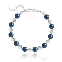 Bracelet en Argent et Perle de Cristal Nacré 6MM - Tahitian Look