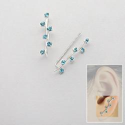 Broches d'Oreilles en Argent Cristal Bleu