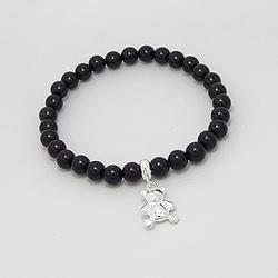 Bracelet Ourson en Argent et Onyx Noir