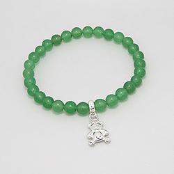 Bracelet Ourson en Argent et Jade