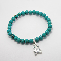 Bracelet Ourson en Argent et Turquoise