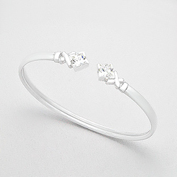Bracelet en Argent et Diamant CZ Carré Blanc