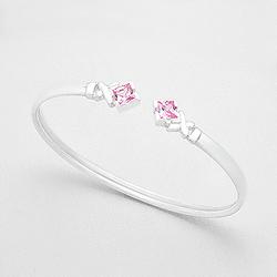 Bracelet en Argent et Diamant CZ Carré Rose