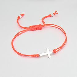 Bracelet Croix en Argent sur Cordon Orange