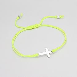 Bracelet Croix en Argent sur Cordon Vert