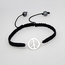 Bracelet Peace And Love en Argent sur Cordon Noir