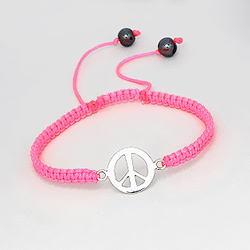 Bracelet Peace And Love en Argent sur Cordon Rose