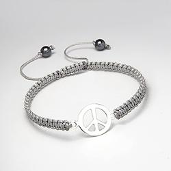 Bracelet Peace And Love en Argent sur Cordon Gris