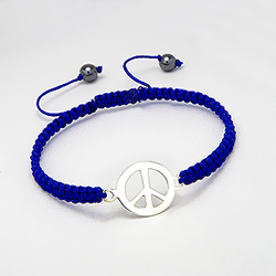 Bracelet Peace And Love en Argent sur Cordon Bleu