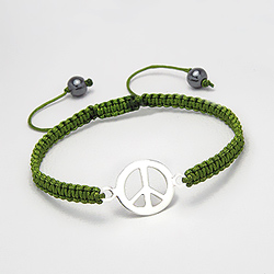 Bracelet Peace And Love en Argent sur Cordon Vert Olive