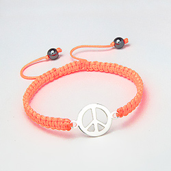 Bracelet Peace And Love en Argent sur Cordon Orange