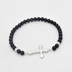 Bracelet Croix en Argent et Onyx Noir