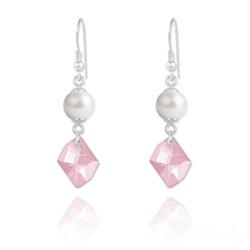 Boucles d'Oreilles Cosmic Pearl en Argent et Cristal Rose Clair