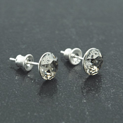 [Silver Patina - 8mm] Boucles d'Oreilles en Argent et Cristal