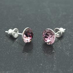 [Antique Pink - 8mm] Boucles d'Oreilles en Argent et Cristal