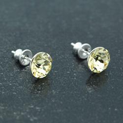 [Jonquil - 8mm] Boucles d'Oreilles en Argent et Cristal