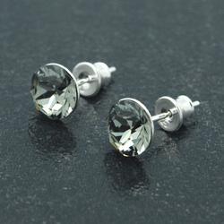 [Black Diamond - 8mm] Boucles d'Oreilles en Argent et Cristal