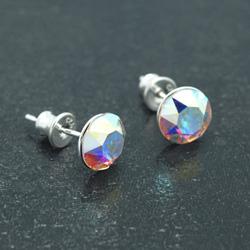 [Crystal Aurora Borealis - 8mm] Boucles d'Oreilles en Argent et Cristal