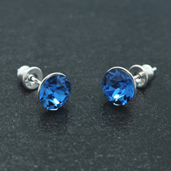 [Capri Blue - 8mm] Boucles d'Oreilles en Argent et Cristal