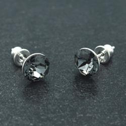 [Silver Night - 8mm] Boucles d'Oreilles en Argent et Cristal