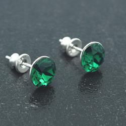 [Emerald - 8mm] Boucles d'Oreilles en Argent et Cristal