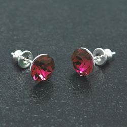 [Ruby - 8mm] Boucles d'Oreilles en Argent et Cristal