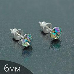 Clous d'Oreilles en Cristal et Argent [Paradise Shine - 6mm] Boucles d'Oreilles en Argent et Cristal