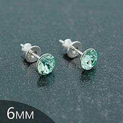 Clous d'Oreilles en Cristal et Argent [Chrysolite - 6mm] Boucles d'Oreilles en Argent et Cristal
