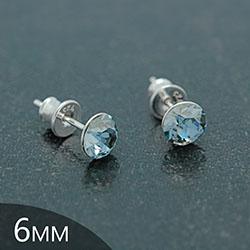 Clous d'Oreilles en Cristal et Argent [Blue Shade - 6mm] Boucles d'Oreilles en Argent et Cristal