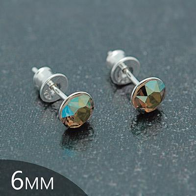 Clous d'Oreilles en Cristal et Argent [Iridescent Green - 6mm] Boucles d'Oreilles en Argent et Cristal