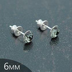 [Black Diamond - 6mm] Boucles d'Oreilles en Argent et Cristal